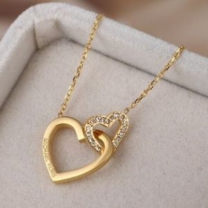 Michael Kors GOLD Double Heart Crystal Necklace